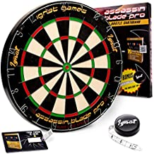 """Ignat Games Professional Dart Board - Bristle/Sisal Tournament Dartboard with Complete Staple-Free Blade Wire Spider + Darts Measuring Tape + """"35 Ways to Play Darts"""" eBook"""