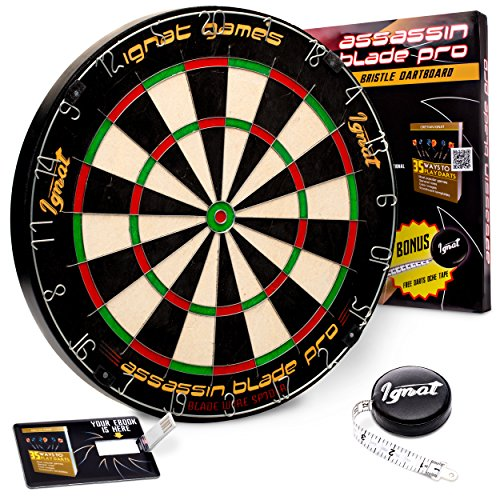 Ignat Games Professional Dart Board - Bristle/Sisal Tournament Dartboard with Complete Staple-Free Blade Wire Spider + Darts Measuring Tape +