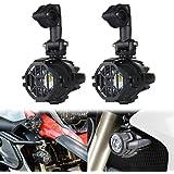 Faros auxiliares de moto,Luces de niebla de la motocicleta LED,Lámparas Auxiliares 40W Lámparas de conducción de haz puntual para R1200GS ADV (solo 2 piezas luz con cubierta de protección)