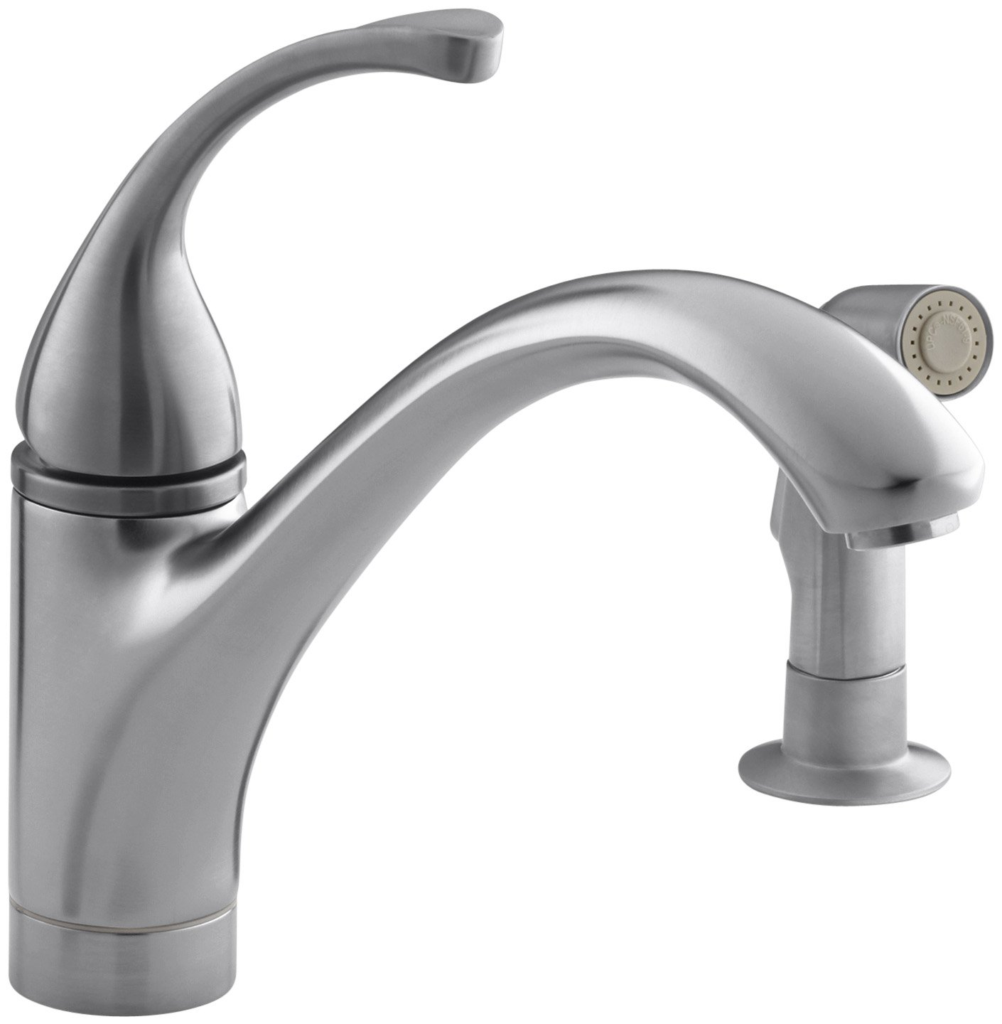 KOHLER K 10416 VS Forte Single Control Kitchen Sink Faucet With Sidespray  And Lever Handle, Vibrant Stainless   Touch On Kitchen Sink Faucets    Amazon.com