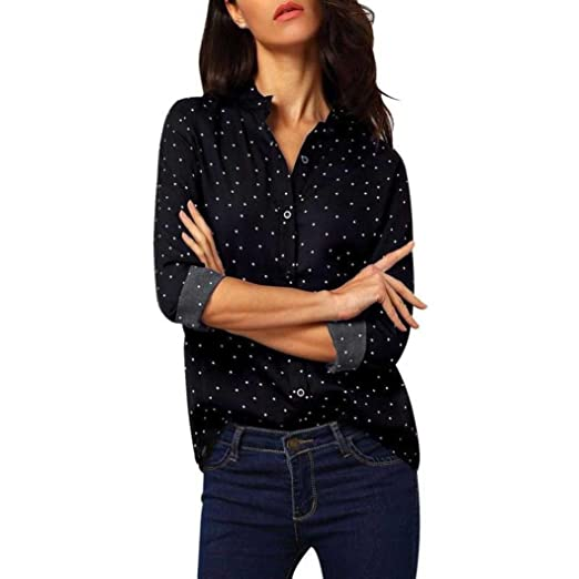 Hot Sale!Youngh 2018 New Womens Blouses Shirts Woemn Polka Dot Shirts Casual Fashion Blouses Long Sleeve V neck Tops Chiffon Blouses For Ladies: Amazon.com: ...