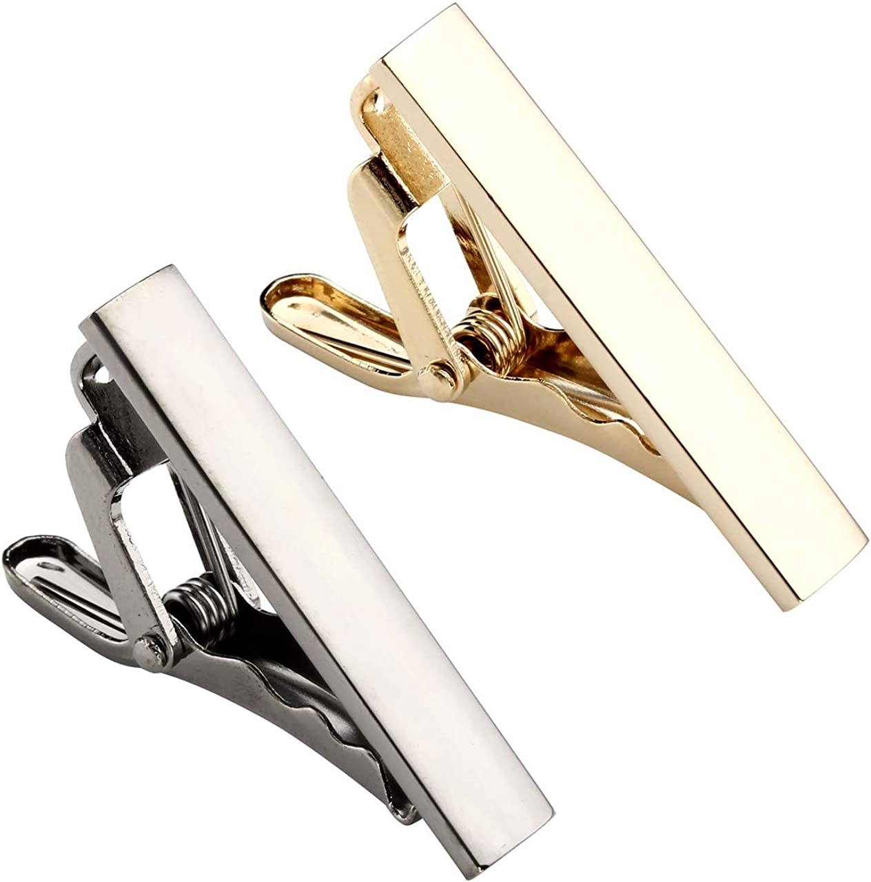 2.3Inches Zysta 2pcs Set Stainless Steel Exquisite GQ Classic Tie Bar Clip,Gold Tone