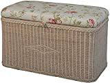 Rattan Storage Bench/Storage Bench with Padded Seat/[in Vintage White