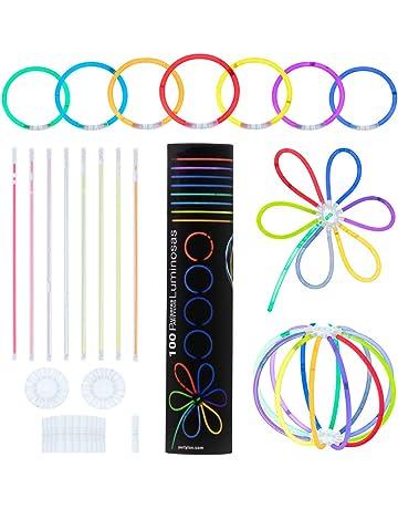 Partylus Pulseras Luminosas para Fiestas en 8 Colores. Pack 100 Varitas Fluorescentes, 100 Conectores