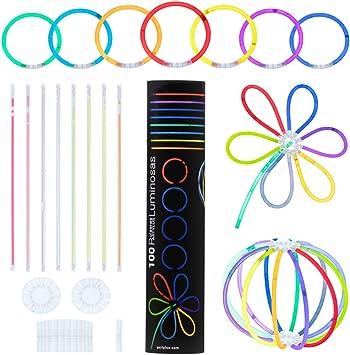 Partylus Pulseras Luminosas para Fiestas en 8 Colores. Pack 100 Varitas Fluorescentes, 100 Conectores Pulsera y 2 Conectores Bola o Flor. Ideal en Bodas, Conciertos y Cumpleaños para Niños y Adultos: Amazon.es: