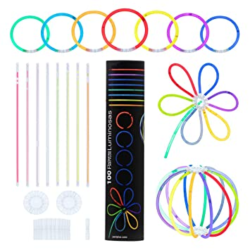 9fc28fcd425e Partylus Pulseras Luminosas para Fiestas en 8 Colores. Pack 100 Varitas  Fluorescentes