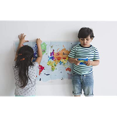 World Map Activity Kit with Reusable Stickers, Stem Toy Geography Toy with Flags, Capitals, Monuments for Kids Ages 5-7 years, 8-10 years, 11-12 years: Toys & Games