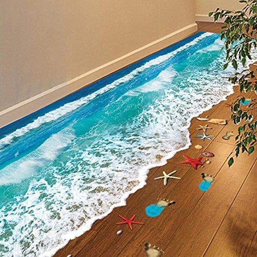 3D Beach Floor Wall Sticker Removable Mural Decals Vinyl Art Living Room Decor homelove17
