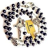 elegantmedical Handmade Black Real Pearl Freshwater Pearls Beads & Silver Skull Catholic St.Benedict Rosary Cross Prayer Necklace Gift Box