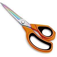 "LIVINGO 9.5"" Sharp Sewing Scissors, Premium Heavy Duty All-Purpose Titanium Coating Forged Stainless Steel Fabric…"