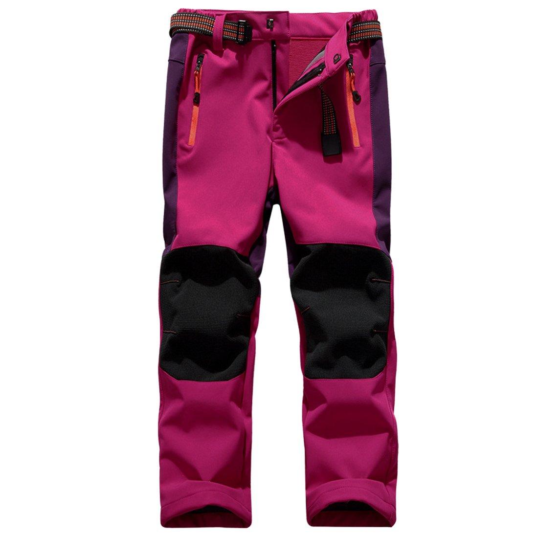 Sidiou Group Deporte al Aire Libre Pantalones de Trekking Niño Pantalones de Montaña Softshell Pantalones Impermeable Pantalones Senderismo Niña Pantalones de Escalada Chicas Pantalones Forro Polar