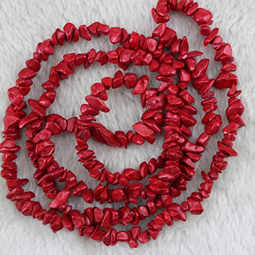 Bamboo Coral Beads - 5-8mm Red Bamboo Coral Chips Chip Beads Loose Gemstone Beads for Jewelry Making Strand 35 Inch