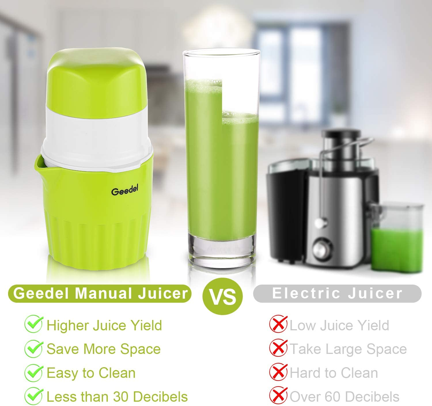 Hand Slow Juicer Machine for Vegetables and Fruits Manual Masticating Juicer Easy to Clean Red1