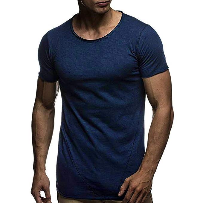 Camisas para Hombres Verano Moda Color sólido Patrón Moda Casual O Cuello Manga Corta Blusas Tops Rovinci: Amazon.es: Ropa y accesorios