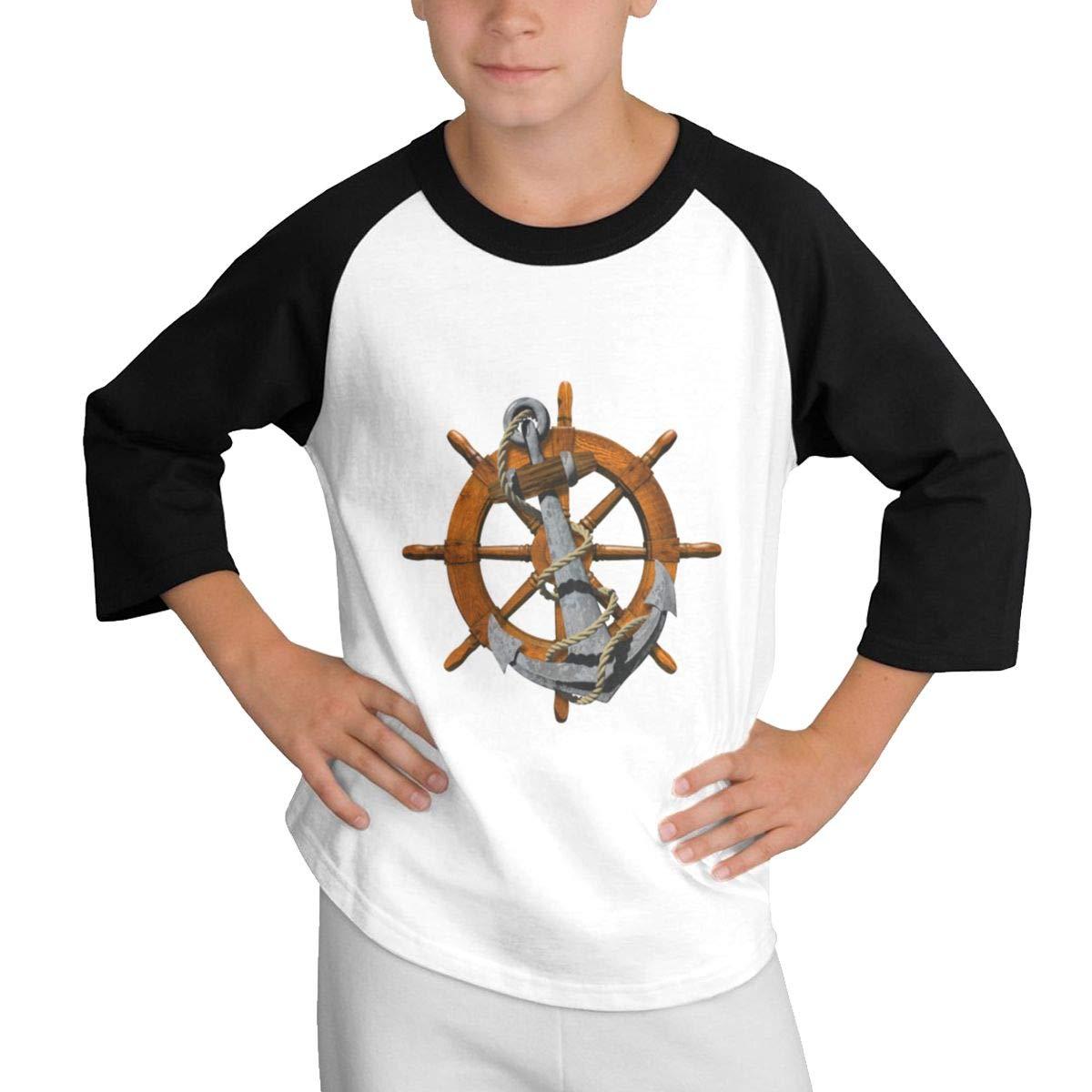 Anchor Wheel Raglan 3//4 Short-Sleeves Shirt Youth Girl Boys