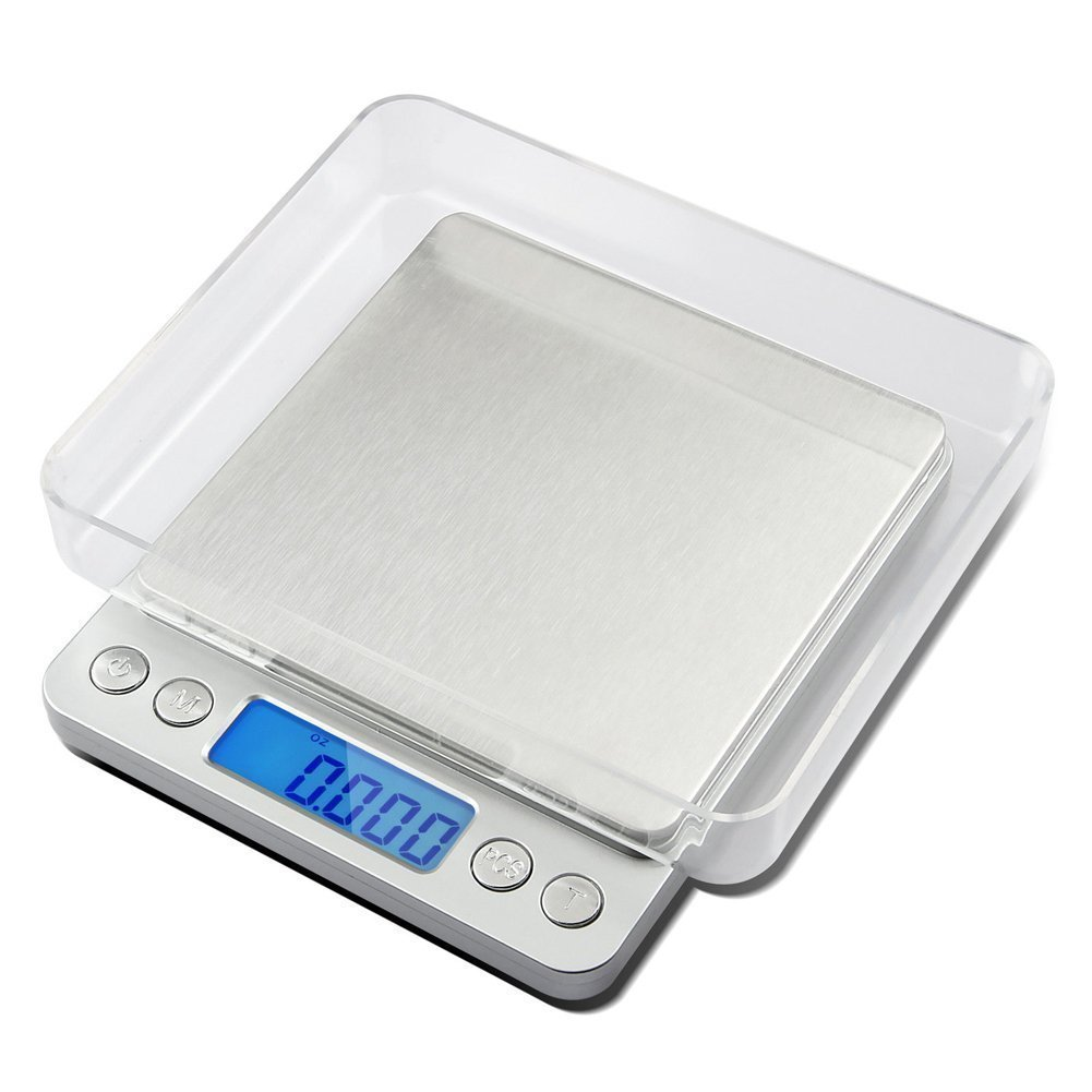 Multifunction Digital LCD Screen Pocket Scales,with Large Plastic Platform and Blue Backlit Display,Capacity 0.01g to 500g,6 Weighing Units,Tare Function Supplied