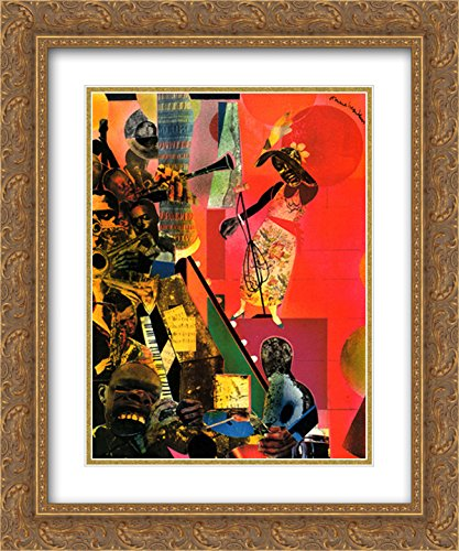 The Blues, 1974 2X Matted 18x15 Gold Ornate Framed Art Print by Romare Bearden