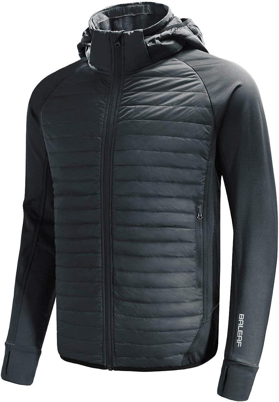 BALEAF Men's Lightweight Warm Puffer Jacket Winter Down Jacket Thermal Hybrid Hiking Coat Water Resistant Packable: Clothing