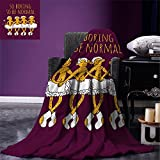 smallbeefly Animal Digital Printing Blanket Funny Ballerina Dancing Monkeys with So Boring to Be Normal Quote Print Summer Quilt Comforter Maroon and Marigold