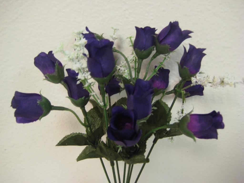 4-Bushes-Purple-Mini-Rose-Buds-Artificial-Silk-Flowers-12-Bouquet-15-2601PU