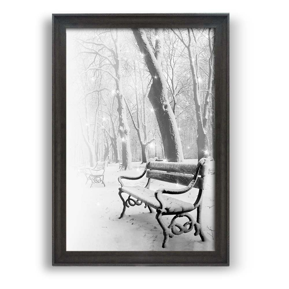 wallcom  art prints  framed art  canvas prints  greeting  - wall  framed wall art prints  snow view in winter  modern homedecoration ready to hang  dark coffee brown frame  x