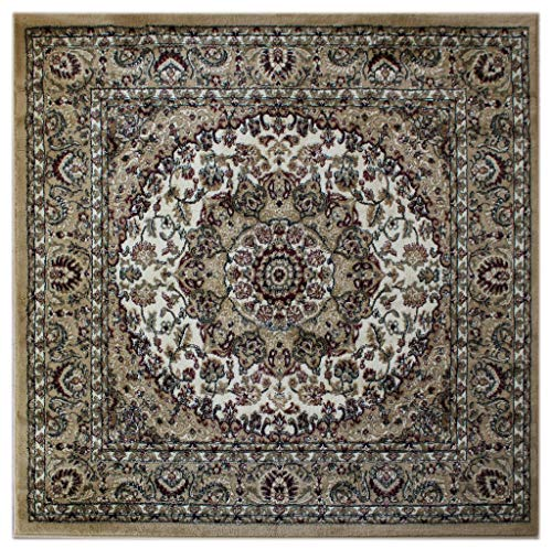 Bellagio Patio - Bellagio Traditional Square Area Rug Design 401 (5 Feet 3 Inch X 5 Feet 3 Inch) Beige