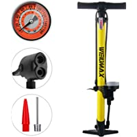 WEIDMAX Fietspomp, ergonomische fiets vloerpomp fietsband inflator fiets luchtpomp draagbare inflator pomp met meter en…