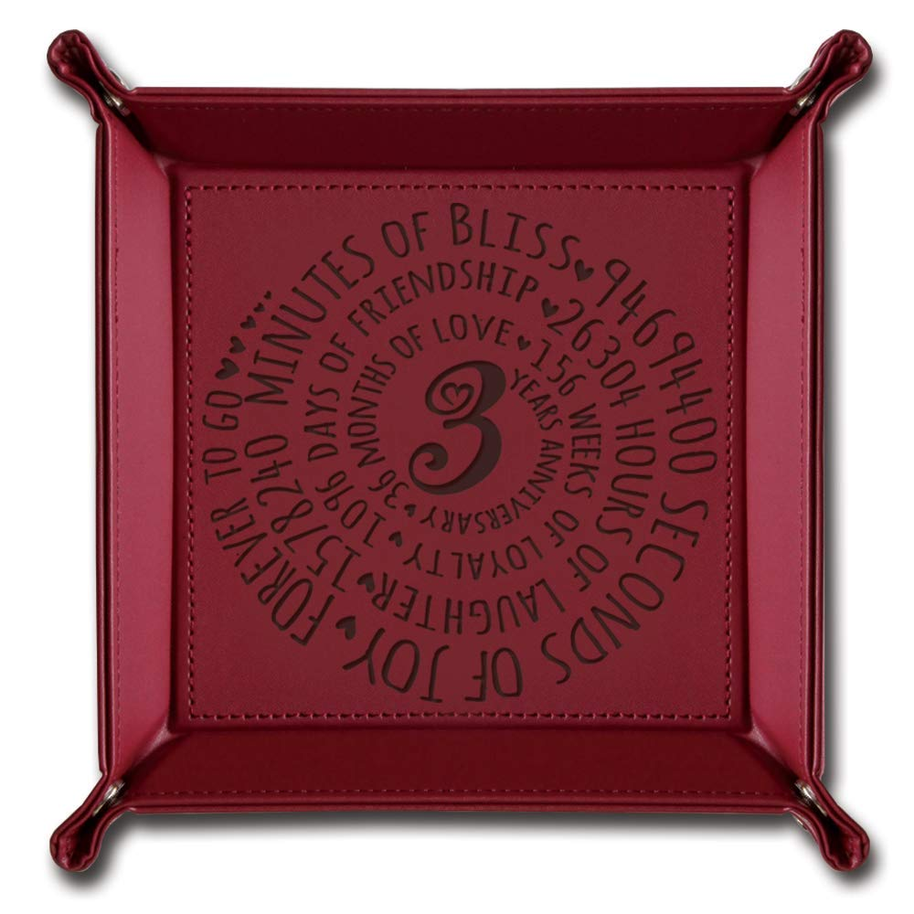 BELLA BUSTA-3 Years Anniversary Gift-3rd Anniversary Leather Gift-Engraved Leather Tray Maroon