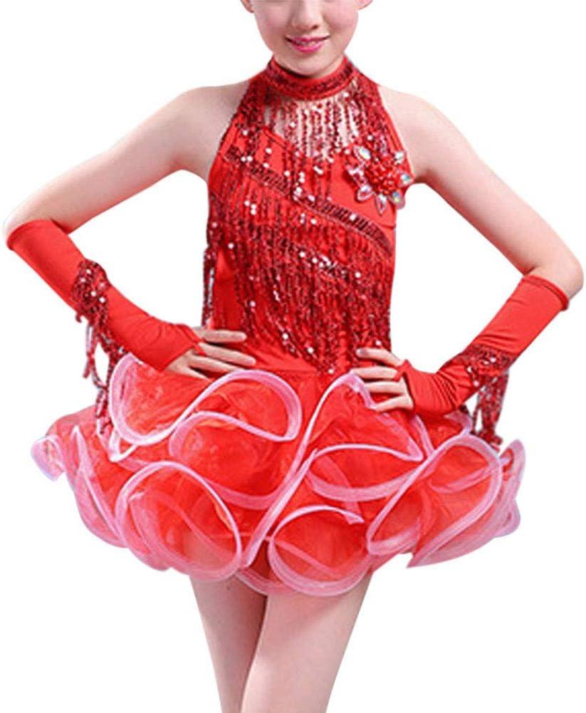 Huatime Latina Danza Disfraz Niñas - Niños Lentejuelas Borla Falda ...