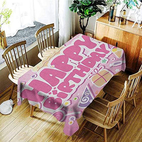 XXANS Fashions Rectangular Table Cloth,Kids Birthday,Cartoon Seem Party Image Balloons Boxes Clouds Cake Celebration Image Print,High-end Durable Creative Home,W52x70L Pale Pink