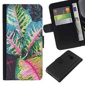 A-type (Leaves Tree Green Red Stripes) Colorida Impresión Funda Cuero Monedero Caja Bolsa Cubierta Caja Piel Card Slots Para HTC One M9