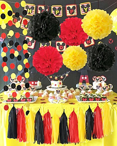 Qian's Party Mickey Mouse Color Party Supplies Yellow Black Red Mickey Mouse Birthday Decorations/Tissue Paper Pom Pom Tassel Garland Mickey Garland Baby Shower Decorations (Mickey Mouse Party Supplies 1st)