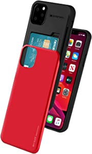 Goospery Sky Slide for Apple iPhone 11 Pro Max Case (6.5 inches) Dual Layer Bumper Cover with Card Holder Wallet (Red) IP11PM-SKY-RED