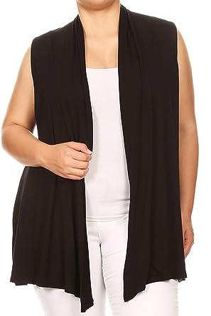 65c731535545b2 BNY Corner Women Plus Size Sleeveless Cardigan Open Front Casual Vest Cover  Up Black 1X 622