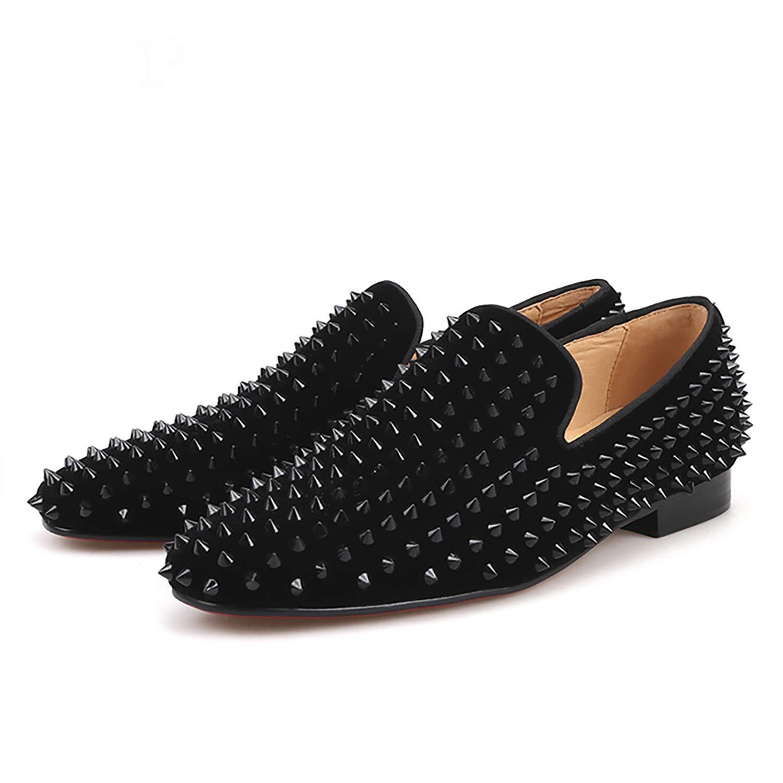 25b3cdd171c82 HI&HANN Men Black Velvet Print Black Rivet Shoes Slip-on Dress Loafer  Smoking Slipper Male's Flats