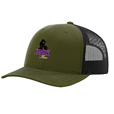ffe39c3b Image Unavailable. Image not available for. Color: Sport BMX Mom Logo  Embroidery Richardson Structured Front Mesh Back Cap Hat - Loden/Black