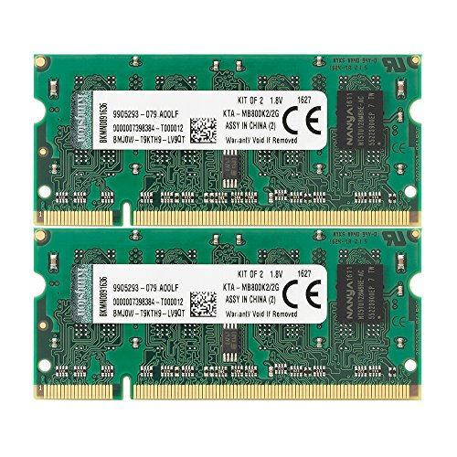 Kingston Technology 2 GB Kit (2x1 GB) Memory for Select Apple Imac's and Macbooks Dual Channel Kit 800 MHz (PC2 6400) 200-Pin DDR2 SO-DIMM KTA- MB800K2/2G