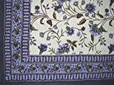Floral Print Tapestry Cotton Spread 104'' x 72'' Twin Blue