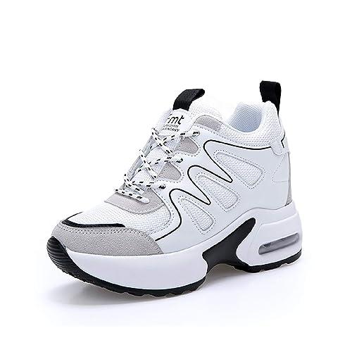 AONETIGER Zapatillas de Deporte Zapatillas Altas para Mujer con Cuña Interior 7.5CM Plataforma Sneaker: Amazon.es: Zapatos y complementos