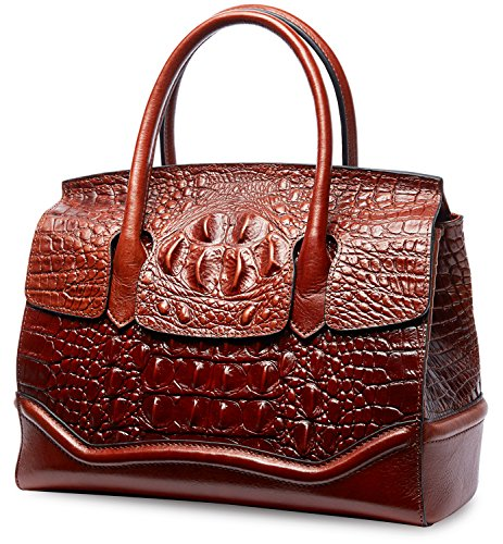 PIFUREN Crocodile Handbag Genuine Cow Leather Shoulder Top Handle Bag M1105 (One Size, Brown) by PIFUREN (Image #1)