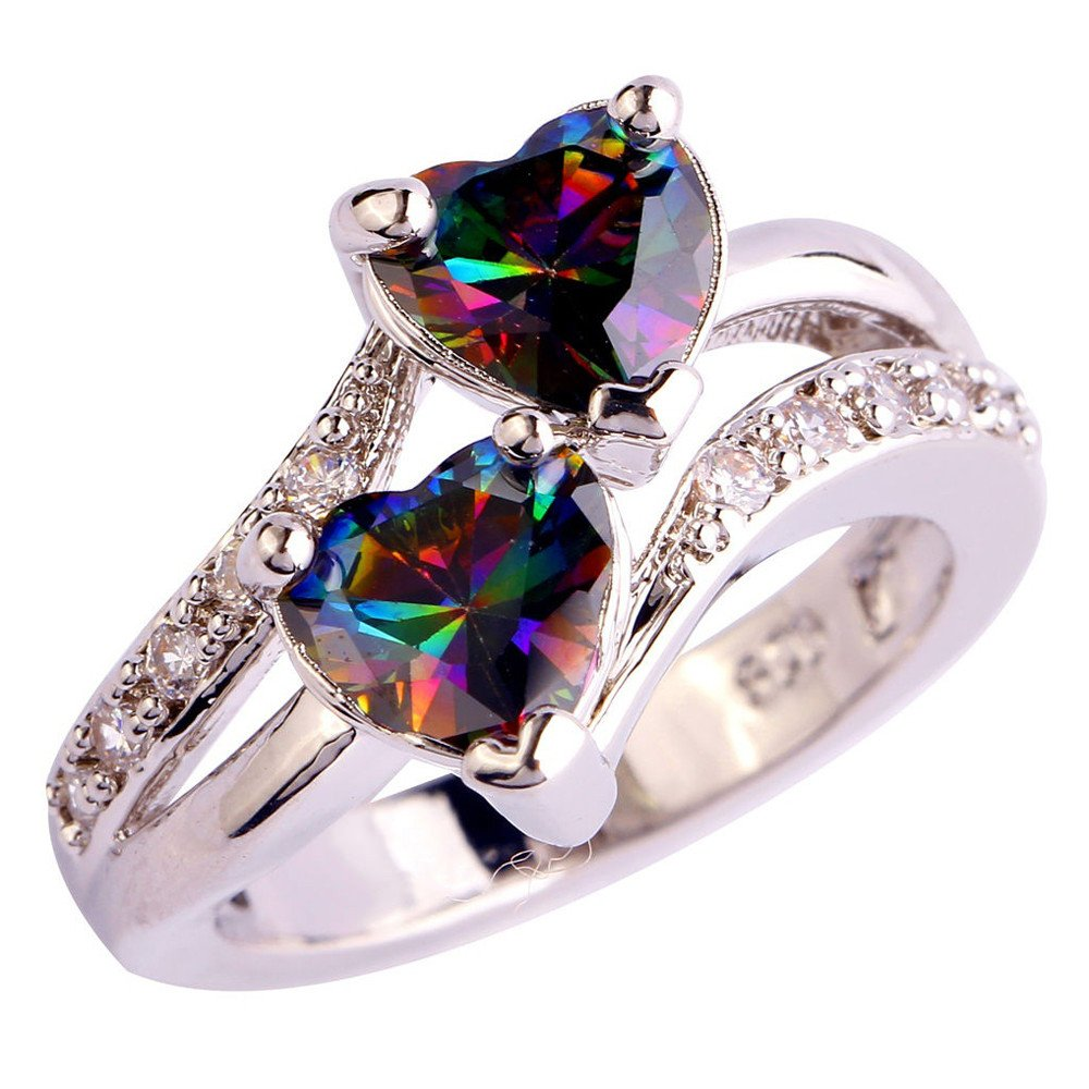 Rings for Teen Boy Wugeshangmao Fashion Men's Engagement Ring for Lovers Heart Cut Rainbow & White Topaz Gemstone Rings Stacking Matching Band Anniversary Ring