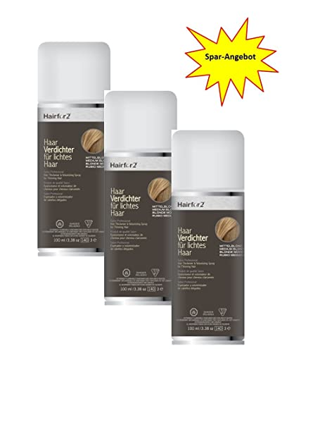 3 x hairfor2 pelo crecepelo Spray 100 ml (Rubio Medio)