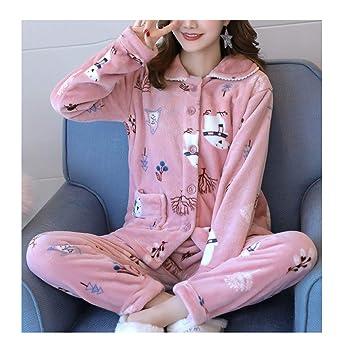 Femaroly Women s Autumn and Winter Thick Fleece Pajamas Sleep Set Cute Warm  Sleepwear XS c7e7d356c