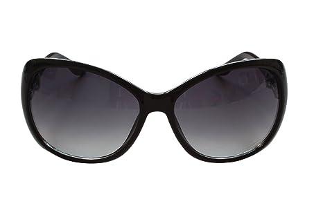 Nouveau papillon Style dames Gradient lentille antireflet anti-reflet lunettes de soleil Protection 100 % UV400 résistant aux chocs (Noir avec de l'or noir lentilles sur bras ) E3AR9c