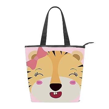 5d79e13b0be8 Amazon.com: Caricature Face Female Tigress Animal Women Large Tote ...