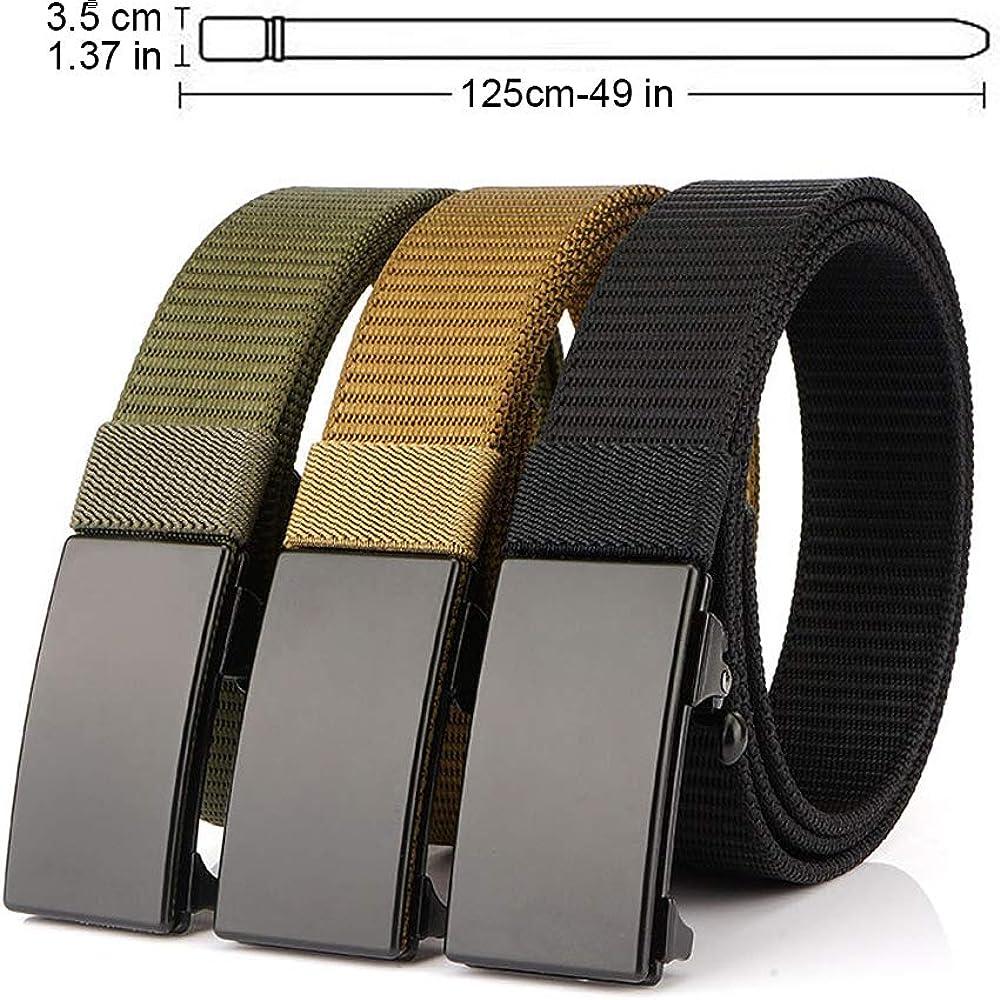 Bansga Cintur/ón t/áctico militar Hombres Hebilla met/álica Espesar Cinturones de lona de nylon para hombres