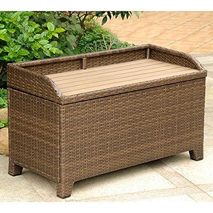 Tremendous International Caravan Barcelona Patio Storage Bench In Honey Pecan Dailytribune Chair Design For Home Dailytribuneorg