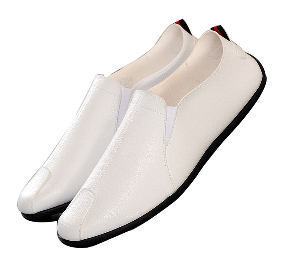 Respeedime Men's Dress Shoes Summer Breathable Leather Shoes Casual Oxford Shoes White 9.5M