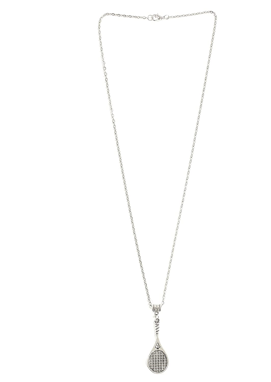 Magic Metal Tennis Racquet Necklace Silver Tone Athletics Pendant NP31 Fashion Jewelry