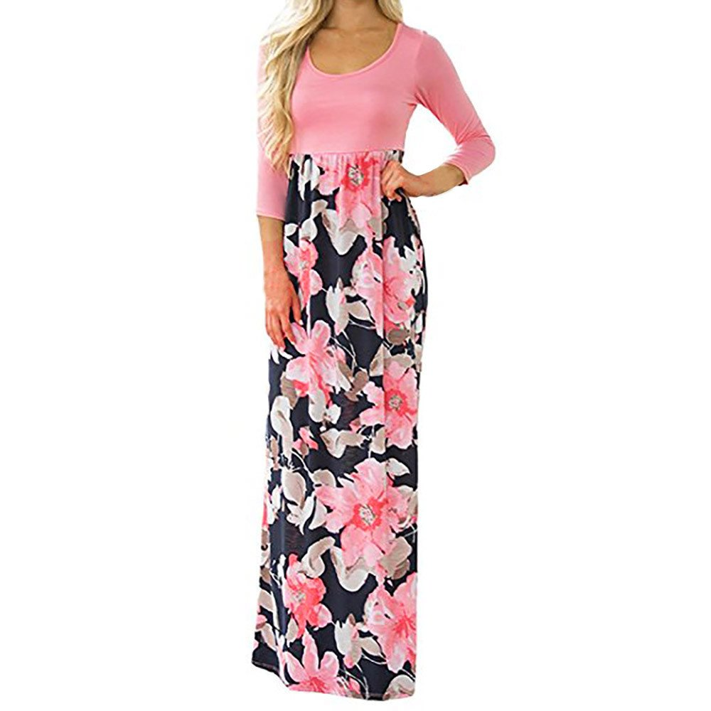 Fanyunhan Women's Floral Print Long Dress Casual Three Quarter Sleeve Tunic Boho Maxi Dress Pink